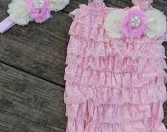 Pink Petti Romper And Headband Set, Girls Romper, Baby Romper, Newborn Romper, Photo Prop, Baby Outfit,