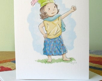 Feather in Her Cap 6 note cards with envelopes / blank inside / cute confident & strong girl / original art by Kathe Keough