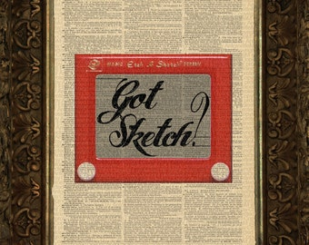 Got Sketch - Etch A Sketch on Antique Dictionary Page, art print, Wall Decor, Wall Art Mixed Media Collage