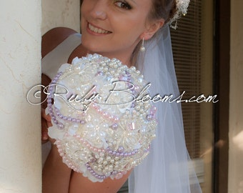 "Crystal Wedding brooch bouquet. ""Ariel's Dream"" Silver, Dusty Ivory, Lavender Heirloom Bridal broach bouquet, by Ruby Blooms Weddings"