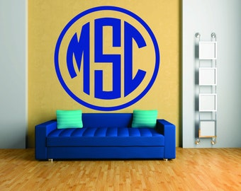 Monogram Wall Decal - Circle Monogram Font, Vinyl Monogram Decal, Indoor Monogram Sticker