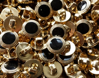 """1/2"""", Black & Gold Bulk Buttons for Crafts, Sewing, Jewelry and More - Button Lot- 100 buttons in each bag"""