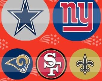 Football NFC (054) Digital Collage Sheet 4x6 bottle cap images .. Bottlecap glass tiles ..