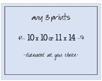 Discounted Set, Any Three 10x10 or 11x14 Photograph Prints, Your Choice, Fine Art Photographs