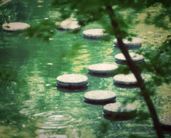 Items similar to stepping stones pond path japanese for Japanese pond ornaments