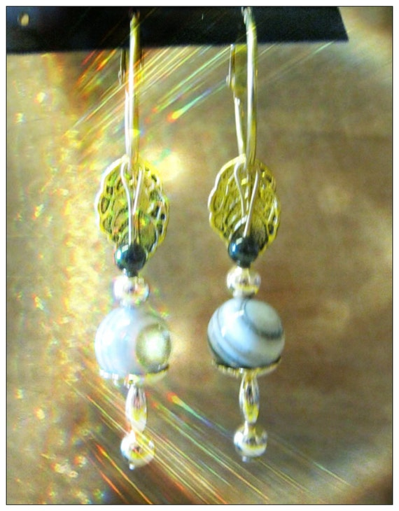Handmade Gold Hoop Drop Earrings with Striped Agate & Onyx by IreneDesign2011