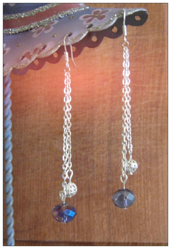 Handmade Silver Hook Earrings with Facetted Crystal & Silver Ball by IreneDesign2011