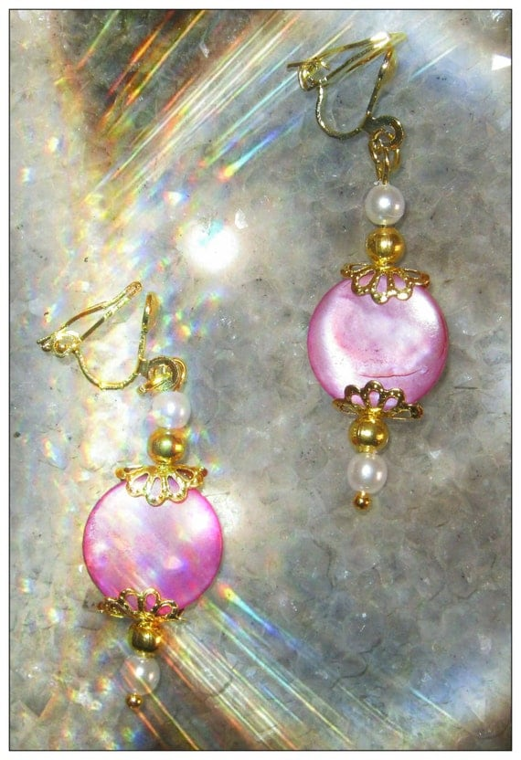 Handmade Gold Clip-On Earrings with Pink Seashell & Pearls by IreneDesign2011