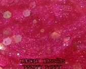 Preppy Puppy - hot pink glass fleck nail polish with a mix of pink, white, and lime green glitter