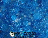 Moondoggie - cerulean blue glass fleck nail polish with a mix of turquoise glitter
