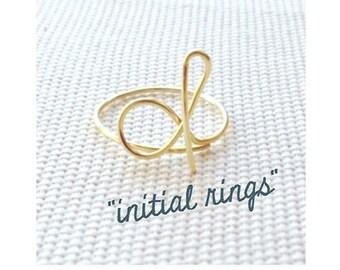 Initial Ring, Handmade Personalized, Bridesmaid Initial Ring, Gold, Silver, Double Initial Ring