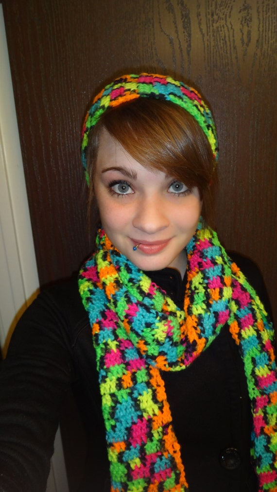 tie dye colored scarf with matching headband