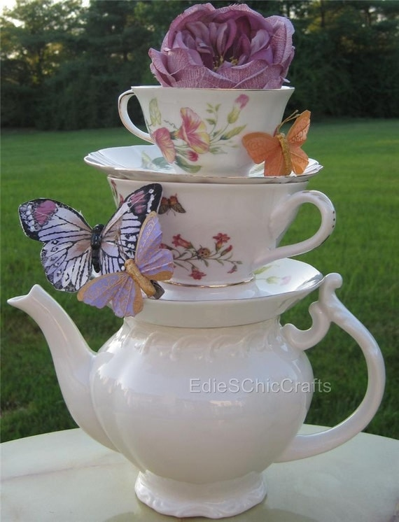Items Similar To Stacked Teapot Amp Teacup Centerpiece