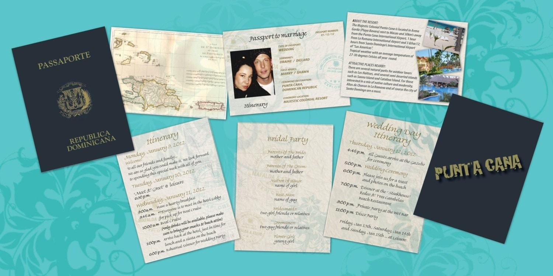 Destination Wedding Invitations Passport: Passport To Paradise Destination Wedding Itinerary Cabo