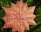 Cedar Mandala Holiday Ornament - Laseretched Reclaimed Western Redcedar - Sacred Geometry
