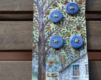 Round Porcelain Button, Ceramic Buttons, Chevron Buttons 2 hole, Pottery Button, Handmade Blue  Buttons