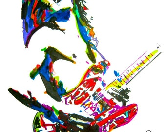 "Eddie Van Halen, Lead Guitar Player, Guitarist, Edward Van Halen, POSTER from Original Dwg 18"" x 24"" Signed/Dated by Artist w/COA 2"