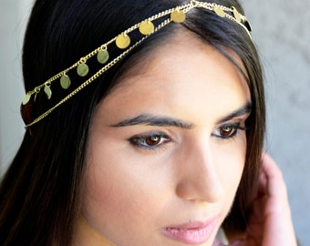 Crown Gypsy Gold Coin Hair Chain Jewelry Sexy Head Accessory Boho  Kardashian Indian Wedding Headpiece head chain Christmas