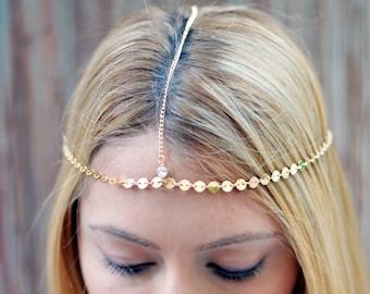 THE GOLDIE Small Coins Gold Hair Chain Crystal Diamond Hair Jewelry Boho Festival Prom Wedding Headpiece head chain  Festival Christmas