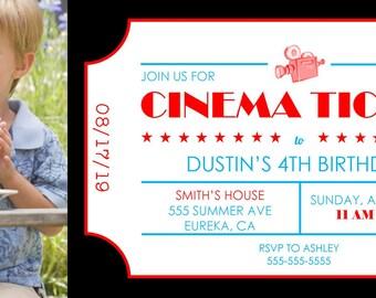 "Cinema  Ticket Birthday Invitation 4""x9.25"" Custom Digital Card"