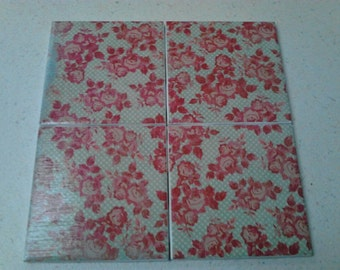 Set of 4 decoupage tile coasters. French country. Roses on mint green dotted background.