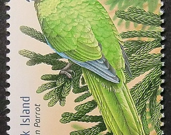 Green Parrots Australia -Handmade Framed Postage Stamp Art 11160