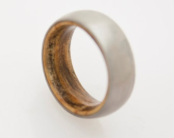 titanium wedding band with inner wood comfort fit