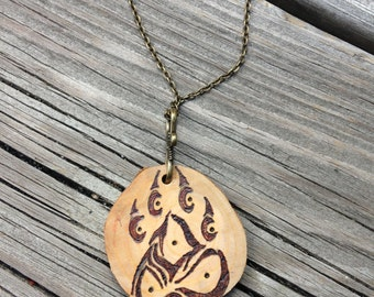 Tribal Wolf Print Wood Burned Necklace