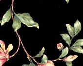 Vintage 1980s Stunning Hand Painted Pink Floral Vine Trail on Black - Pink, Green, Leaf - Wallpaper By The Yard - FNH20-5