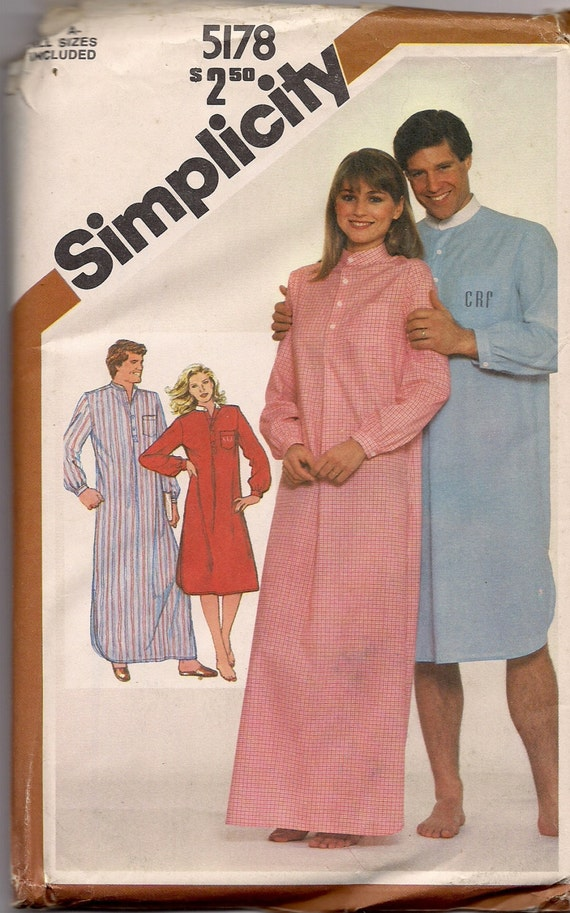 Simplicity 5178 Misses' and Men's Pullover Nightshirt in two Lengths 1980s Vintage Sewing Pattern UNCUT ALL SIZES