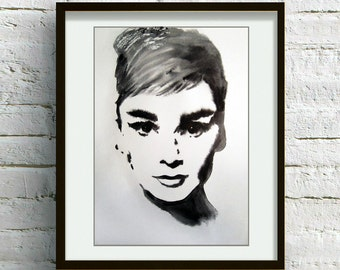 ART PRINT of Original Expressionistic Audrey Hepburn Watercolor Painting  Fashion Illustration,  Watercolor Wall Home Decor Art