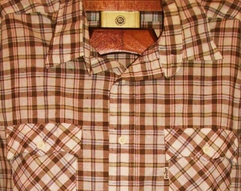 VTG 70's to 80's Levi's White Tab Action Shirt Brown Plaid Long Sleeve Button Up Sz Large EUC