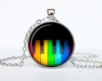Rainbow Piano keys necklace Rainbow Piano keys pendant Mod jewelry