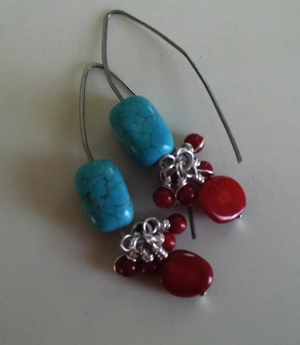 turquoise and coral dangle earrings modern by radwirejewelry