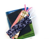 Fabric bookmarks with ribbon - Set of three - Pink, green, and blue theme