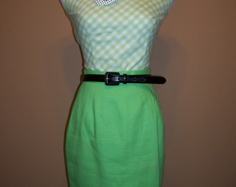 Vintage Lime Green Pencil Skirt size 6 pinup bombshell mad men rockabilly