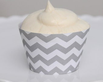 INSTANT DOWNLOAD – Printable Pastel Gray Chevron Cupcake Wrapper – Printable Cupcake Wrappers