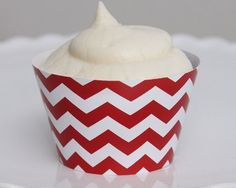 INSTANT DOWNLOAD – Printable Red Chevron Cupcake Wrapper – Printable Cupcake Wrappers