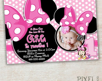 Minnie Mouse Birthday Invitation, Pink Minnie Mouse Polka Dot, Pink Minnie Mouse First Second Third Birthday Invitation Photo