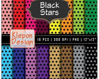 16 Black Stars Digital Paper Pack in Bright Colors INSTANT DOWNLOAD 300 dpi png files 12x12 Scrapbooking Background (kd6042)