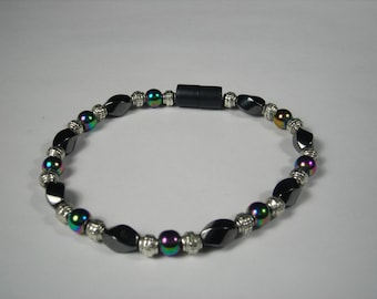 Magnetic Bracelet with multi-color magnets, twist magnets, bali silver and a magnetic clasp