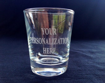 Personalized Engraved Shot Glass - Customized for Wedding, Anniversary, Birthday, Bridesmaids, Groomsmen, Engaged, Holiday gift or Any Event