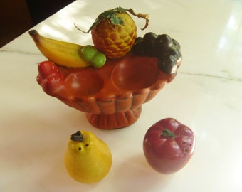 Salt and Pepper Shakers Fruit in a Bowl