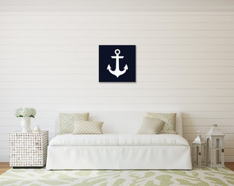 Navy Anchor Print on Canvas