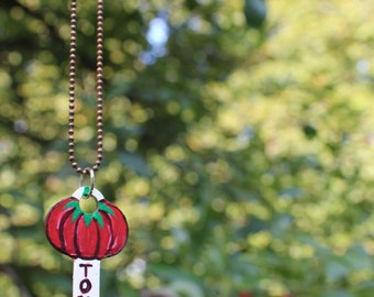 Hand-Painted Tomato/Tomado Vintage Key Necklace