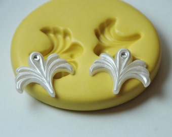 0241- Cake Decorating Flourishes Art Deco Silicone Rubber Food Safe Flexible Mold- wax, resin, clay, soap, chocolate, fondant, wedding, PMC