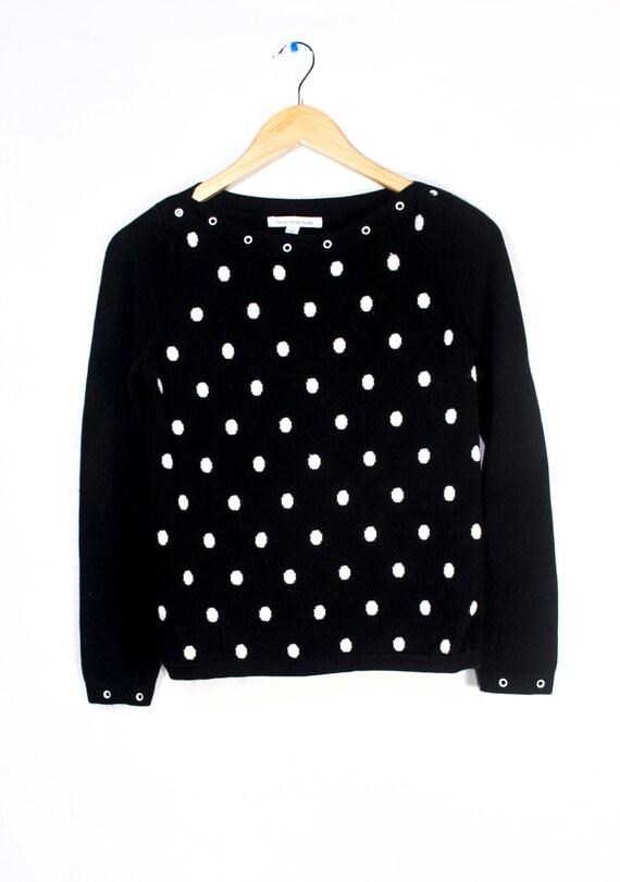 Black and White Polka Dot Mercer Street Studio Cotton Sweater