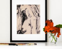"Charcoal Figure Drawing, Giclee Print, Female Nude,  Boho, Life Drawing, Distressed Art, Vintage Figure Drawing, 8""X10"" - ""Beautiful Blonde"""