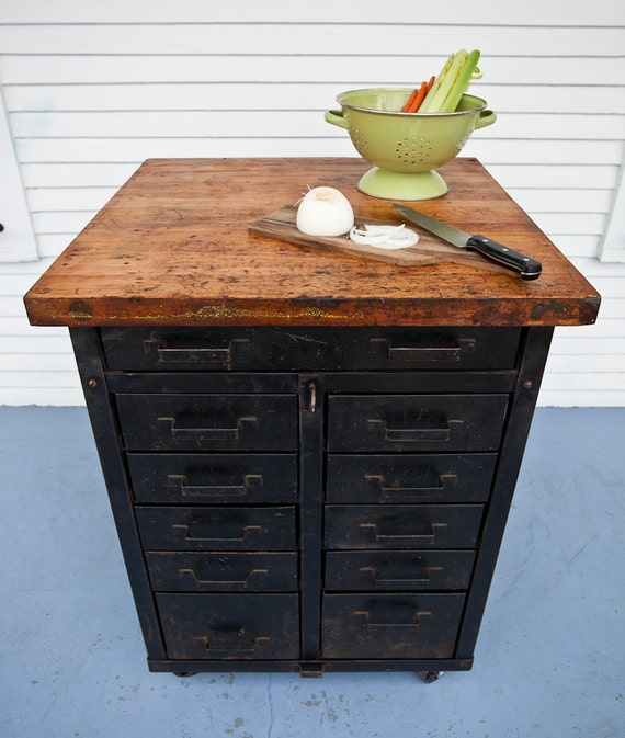 Kitchen Island Butcher Block Tops: Kitchen Island With Butcher Block Top And Steel Base By