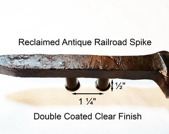 """1 1/4"""" Right Sealed Railroad Spike Cupboard Handle Dresser Drawer Pull Cabinet Knob Antique Vintage Old Rustic Re-purposed House Restoration"""